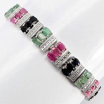 Pulseira Bracelete Em Prata 925 Com Rubi Esmeralda E Safira