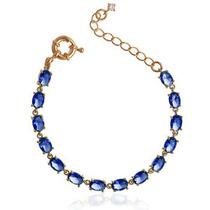Pulseiras Cristal Azul Safira Folheado A Ouro 18k 1 Garantia