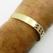 Pulseira Masculina 18cm 12mm Largura Folheada Ouro Pl366