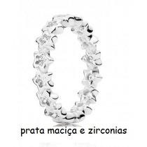 Anel Aliança Estrelas Pandora C/ Zirconias Prata 925 Esterl.