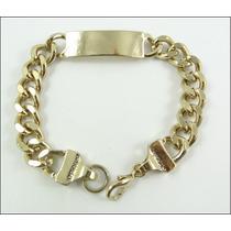 Pulseira Masculina Linda Aço Dourado Cor De Ouro - J1617