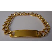 Pulseira Masculina De Aço Dourada Modelo Placa
