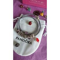 Pulseira Bracelete Pandora Murano Prata 925 Mais 6 Berloques