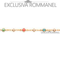 Rommanel Pulseira Pedras Coloridas Perolas Intercalad 550672