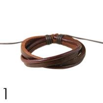 Pulseira Bracelete Em Couro Legítimo Masculina - Rapher