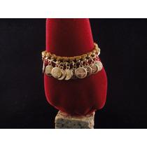 Pulseira Bracelete Feminina Em Fecho Pano E Corrente Dourada