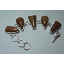 Pulseira Bracelete Feminina 925 Pedra Jaspe Natural