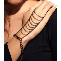 Anel Pulseira Hand Chain Boho Indiana Exótica Preta
