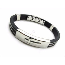 Pulseira Bracelete Masculino Cruz Em Silicone E Aço Inox