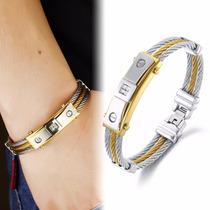 Pulseira Bracelete Masculina Feminina Aço 316l Ouro 18k