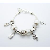 Pulseira Tipo Pandora Banho Prata Completa Angel Branca