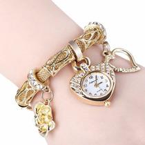Pulseira Relógio Feminina Luxo Pandora Cravejada Ouro