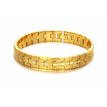 Pulseira Masculina Banhada Em Ouro 18k-frete Grátis