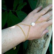 Anel Pulseira Dourada Estilo Indiana Com Pedra Branca
