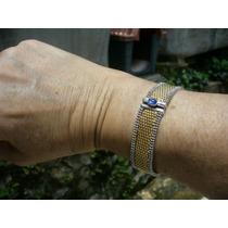 Pulseira Bracelete Com 30,3 Gr Ouro Amarelo Branco E Safira