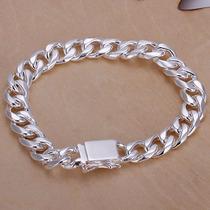 Pulseira Bracelete Banhada Prata 925 Carimbo 10mm Grossa