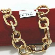 Pulseira Luxuosa Zirconias Swarovski - Banhada A Ouro 18k