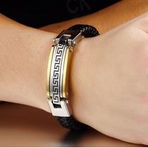 Bracelete Pulseira Masculina Couro Aço Inoxidável Barata