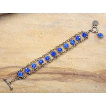Pulseira Feminina Ouro Velho Strazz Azul Bijuterias