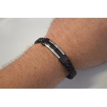 Bracelete Algema Masculino Couro C/ Aço M17 C/ Frete Grátis