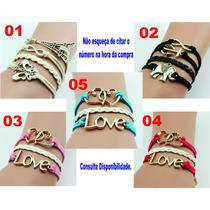 Pulseira Feminina Bracelete De Couro Vários Modelos!!!