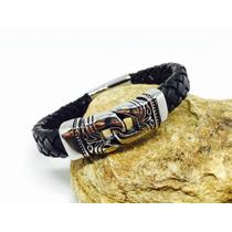 Pulseira Em Nó De Aço Com Couro Indiano Legítimo Bracelete