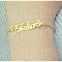 Pulseira De Nome Personalizado Em Prata Banhada A Ouro !