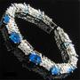 Pulseira Safira Azul E Diamante Folh Ouro Branco 18k (051)