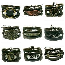 Pulseira Bracelete Couro Ajustavel Masculino Feminino
