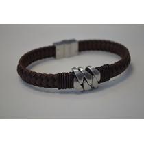 Bracelete Algema Masculino Couro C/ Aço M18 C/ Frete Grátis