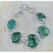 Bracelete Pulseira Feminino Prata 925 Esmeralda Naturais 39g