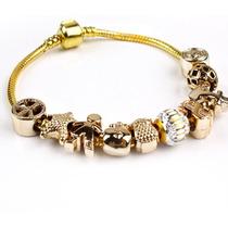 Pulseira Dourada Estilo Pandora Com Berloque Dourado