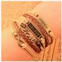 Pulseira Bracelete De Couro Vintage Moda 2016 Mais Vendida !