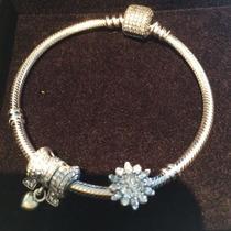 Bracelete Brilho Pandora Em 100% Prata De Lei 925