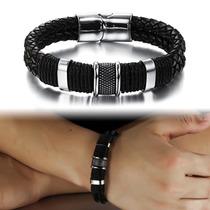 Pulseira Masculina Bracelete Em Couro Legítimo + Aço Inox
