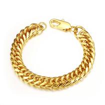 Pulseira Masculina Bracelete Banhada Em Ouro 18k 22cm X 12mm