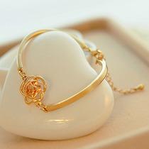 Pulseira Bracelete Feminino Love Banho Ouro Crystal