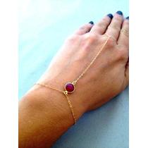 Anel Pulseira Hand Chain Indiana Sexy Com Cristal Vermelho