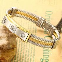 Bracelete Pulseira Masculina Aço Inoxidável Banhada Ouro 18k