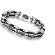 Pulseira Bracelete Masculino Aço Inoxidável 316l E Silicone
