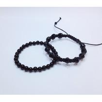 Pulseira Masculina Pedra Natural Onix Macrame Cristais Preto