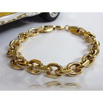 Pulseira Masculina De Aço Dourada - Excelente Qualidade