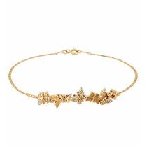 Pulseira Piastrine C/ Borboletas Em Ouro 18k Com Diamantes