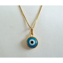Colar Feminino Olho Grego Azul Turco Banhado A Ouro 18k
