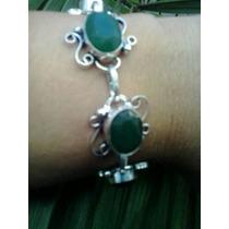 Pulseira Feminina Prata 925 Pedras Esmeraldas Naturais