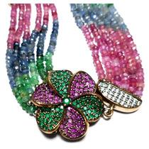 Lqq-pulseira Flor Turco Prata 925 Safira Rubi Esmeralda