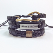 Kit Pulseiras Masculinas Couro Shambala Stay Strong Frete Gr