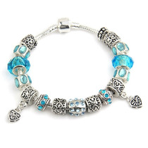 Pulseira Feminina Estilo Pandora Mar Azul Prata 925