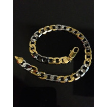 Pulseira Masculina Ouro 9k 2 Tons Gold Filled