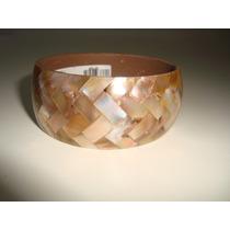 Bracelete Pulseira Resina Mosaico Madrepérola Indiano 3cm